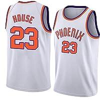 House 23#メンズバスケットボールジャージ、Suns Team White Jersey、メッシュ通気性クイックドライノースリーブスイングマンベストバスケットボールファン制服Tシャツ M