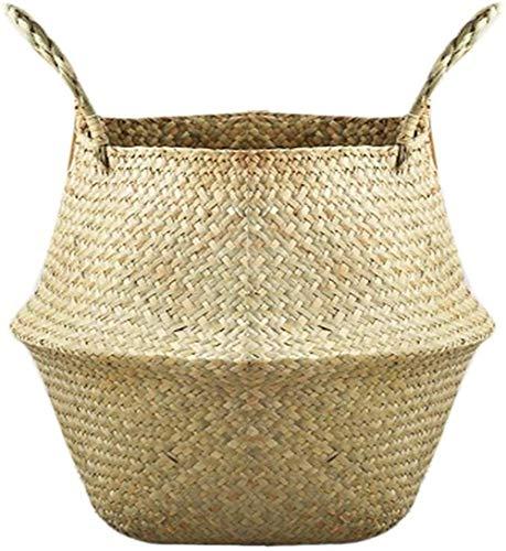 Canasta de almacenamiento Bravoy cesta de picnic de pescado cuadro de la cesta del juguete Chimenea cesta de maceta plegable pasto marino con mango de baño infantil (color natural)