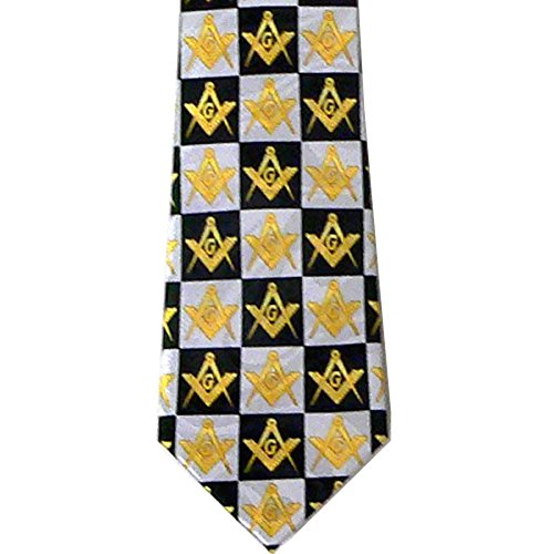 Masonic Neck Tie - Black and White Polyester Long tie with Compass and Square Checkerboard Masonic Pattern Design for Freemasons (Tie Freemason)