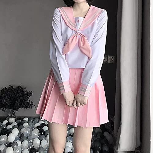 YINSHENG Camisa de Hombre Uniforme Anime School Girls Disfraz de Estudiante Rosa Disfraz de Marinero Cosplay Lencera de Mujer Medias de Peluche Medias Liguero Conjunto de lencera de Liga