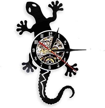 KDBWYC Horloge Murale en Vinyle LED Horloge Murale rétro rétro-éclairage veilleuse Couleur Changeante Lampe Horloge lézard th