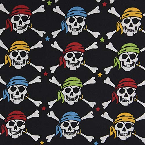 SCHÖNER LEBEN. Baumwollstoff Totenkopf Pirat Sterne schwarz weiß bunt 1,6m Breite