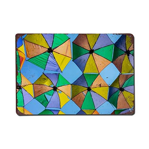 happygoluck1y Cartel de metal con diseño de paraguas verde, amarillo y azul, para paredes de 20 x 30 cm