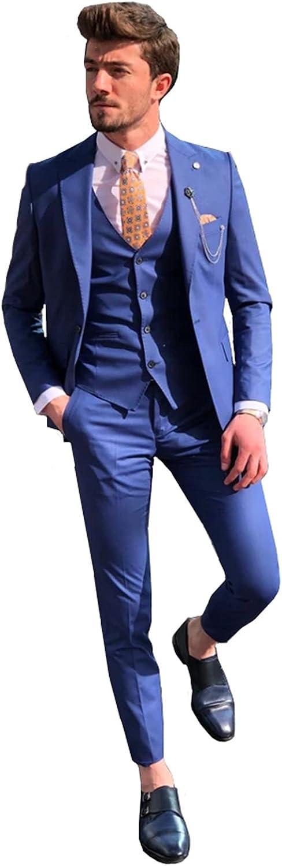 Men's 3 Piece Suit Peaked Lapel One Button Tuxedo Slim Fit Party Dinner Jacket Vest & Pants
