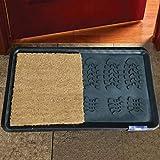 Alfombra Desinfectante Goma y Coco para El Suelo, Limpieza De Zapatos De La Puerta Casa, Alfombrilla Felpudo Absorbente Antibacteriano Coco 40x70