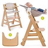 Hauck Beta Plus Newborn Set - Baby Holz Hochstuhl ab Geburt mit Liegefunktion/inkl. Aufsatz für Neugeborene, Sitzpolster, Tisch/mitwachsend, höhenverstellbar - Natur Beige