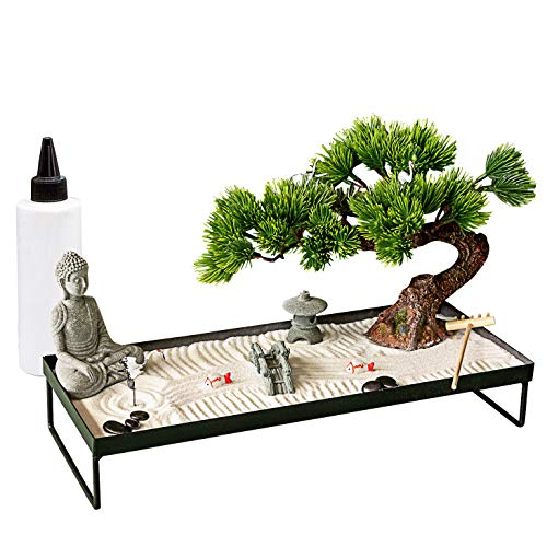 Meditation Decoration Japanese Zen Garden – Home Office Bonsai Zen Garden Decor Zen Gifts for Women Man Friends – Tabletop Buddha Rock Sand Zen Garden for Table Desk