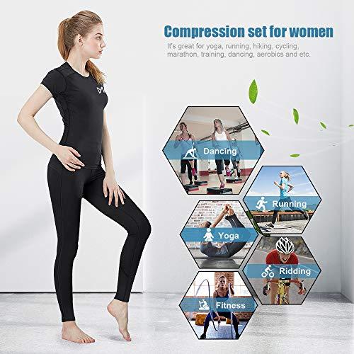 MEETYOO Kompressionsshirt Damen, Sport Leggings Kompressionshose Lang Running Tights Atmungsaktiv Kurzarm T-Shirt für Laufen Radfahren Yoga Gym - 5