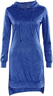 Howely Women's High Low with Pockets Hoodie Sweatshirt Fleece T-Shirt Dress