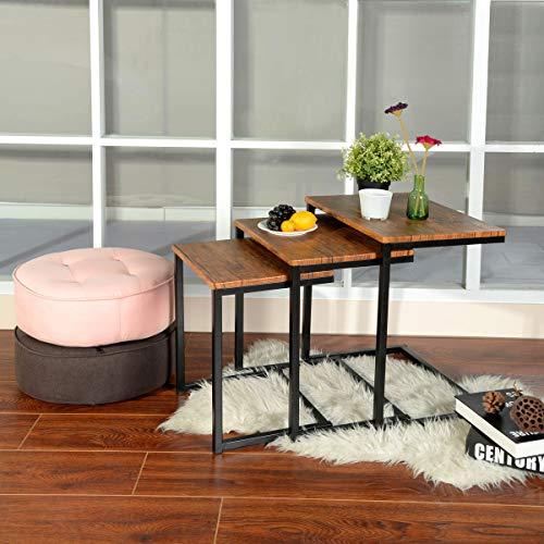 HOMYCASA - Juego de 3 mesas auxiliares apilables de madera para sala de estar, metal, color marrón