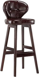 YUN HAI Sillas de Bar de Madera Maciza de la Cocina Silla de Desayuno de la Cocina/Silla de Comedor Alta Taburete de Bar Retro/Taburete Alto de Color Naranja (Color : Brown, Tamaño : 64CM)