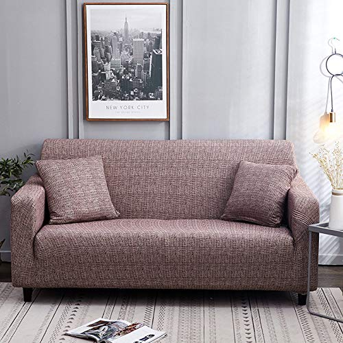 Universal Sofa Slipcover Simple Printing Retro Plaid Stretch Non-Slip Sofa Furniture Protector,Washable Convenient Durable Living Room,Single Double Triple Combination Sofa Cushion,Red Love,3,Seat