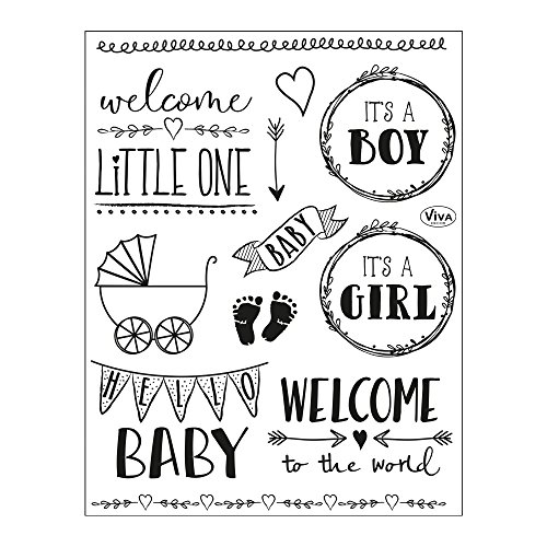 Viva Decor®️ Clear-Stamps (Hello Baby) Silikon Stempel - Prägung Stempel - DIY Dekoration stanzen - Stempel Silikon - DIY Stamp - Stempel Prägung - Made in Germany