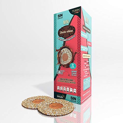 Mini Choke-Obleas Wafers Dark Chocolate Turin Amaranth Chocolate Wafer Cookies Filled with Chocolate, Mini-Choke Obleas Naturales de Amaranto Rellenas de Chocolate Turin Sin Azucar, Contenido de 10 Paquetes con 3 Galletas cada paquete