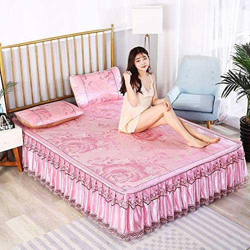 LANG ZI Faldas de Cama separables, colchón Four Seasons Ice-Cold Colchón de Encaje de una Capa Doble/Individual, Funda de colchón Lavable a máquina. (Color : G, Size : 200 * 220CM)