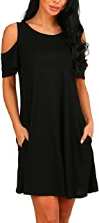 PCEAIIH Women's Long Sleeve Cold Shoulder Tunic Top Swing T-Shirt Loose Dress with Pockets
