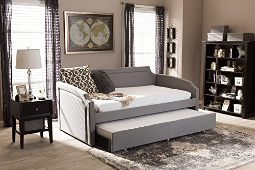 Baxton Studio Parkson Modern and Contemporary Curved Notched Corners Sofa Daybed with Roll-Out Trundle Guest Bed Grey