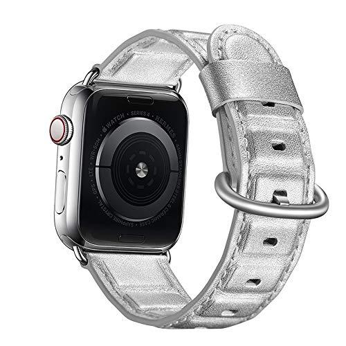 YEDDA - Correa de piel auténtica para reloj Apple Watch Series 4, 3, 2, 1, iWatch y correa de muñeca de 38 – 40 – 42 – 44 – 44 mm (color: plata, tamaño: 38 mm)
