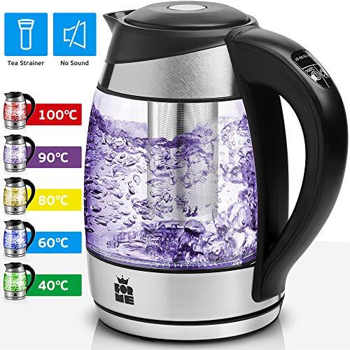 ForMe Glas Wasserkocher 1.8 L Temperaturwahl 40-100°C Farbwechsel LED Temperatur einstellbar Glaskessel Teesieb Einsatz I Glaswasserkocher Edelstahl Boden I Teekessel mit Warmhaltefunktion I BPA Frei