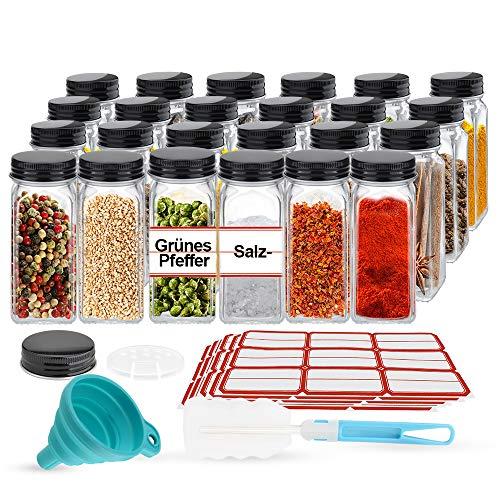 Gewürzgläser 24er Glasdosen Set Gewürz Glas Behälter mit Deckel Streuer-Aufsätze Trichter Etiketten haltbare Einmachgläser für Kräuter Marmelade 120 ml, 10,5 x 4,3 cm