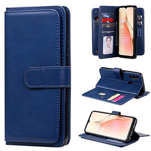 Snow Color Oppo A8 / A31 2020 Hülle, Premium Leder Tasche Flip Wallet Case [Standfunktion] [Kartenfächern] PU-Leder Schutzhülle Brieftasche Handyhülle für Oppo A31 2020 / A8 - COKT020375 Blau