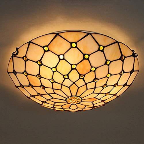MTCTK Tiffany-Stil Deckenlampe bunten Glasmalerei Lampenschirm Unterputz Kronleuchter Decke dekorative Pendelleuchte,Yellowbeads,40CM
