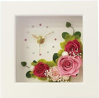 プリザーブドフラワー IPFA フレーム 時計 [フラワー時計 ギフト] 花/バラ/誕生日プレゼント/退職祝い/女性/記念日/薔薇/インテリア (ピンク×ピンク)