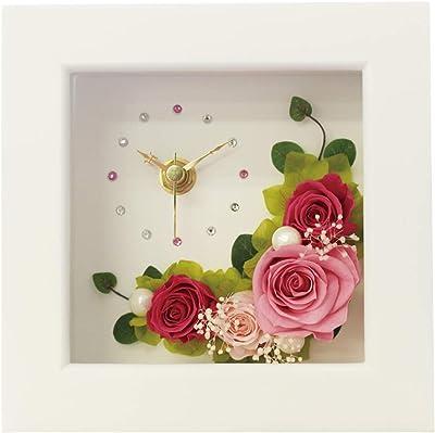 プリザーブドフラワー IPFA フレーム 時計 [フラワー時計 ギフト] 花/バラ/誕生日プレゼント/退職祝い/女性 (ピンク×ピンク)