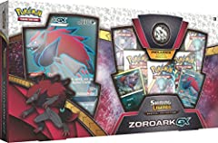 1 full-art foil promo card featuring Zoroark-GX! 1 foil promo card featuring zorua! 1 full-art oversize card featuring Zoroark-GX! 5 Pokémon TCG: shining legends booster packs (each pack contains 10 game cards and 1 basic energy) A Zoroark coin and a...