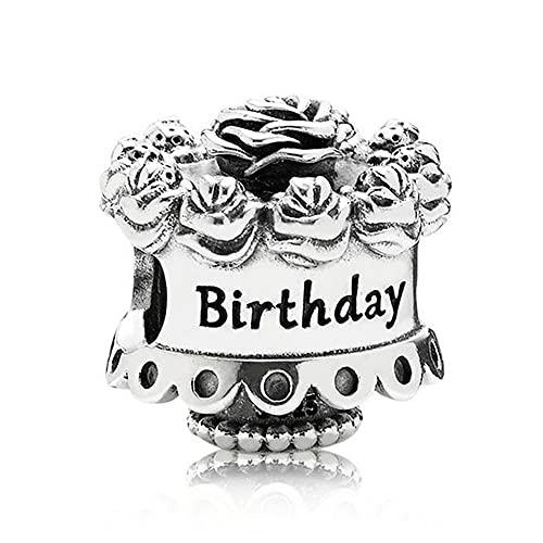 Pandora 925 colgante de plata esterlina Diy plata esterlina feliz cumpleaños encanto se adapta a cuentas de pulsera Pandora para hacer joyas regalo de mujer