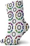 iuitt7rtree Chaussettes de sport pour hommes/femmes/hommes, chaussettes fantaisie personnalisées, chaussettes de cosplay, chaussettes décontractées, motif cercle coloré 30 cm