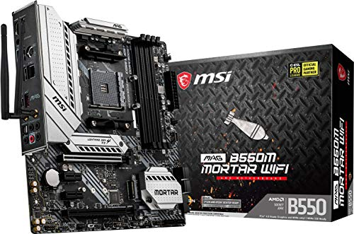 MSI MAG B550M Mortar WiFi Gaming Motherboard (AMD AM4, DDR4, PCIe 4.0, SATA 6Gb/s, M.2, USB 3.2 Gen 2, AX Wi-Fi 6, HDMI/DP, Micro-ATX, AMD Ryzen 5000 Series Processors)