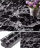 Yancorp 17.8 inch x78.7 inch Black Granite Wallpaper Marble Counter Top Film Vinyl Self Adhesive Peel-Stick Wallpaper (17.8'x78.7')