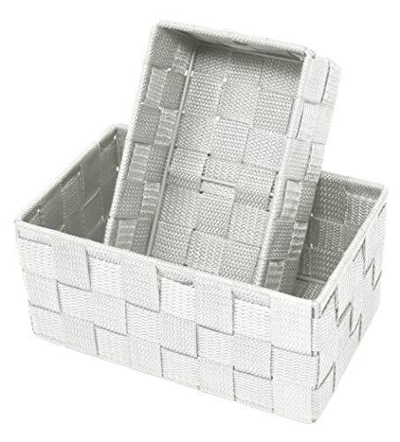 Lashuma Doppelpack Aufbewahrungsboxen, Größen: 19 x 10 x 7 cm und 20 x 13 x 10 cm, Offene Badezimmer Körbchen Farbe: Silber