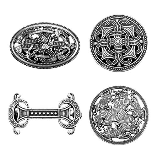 Milageto 4 Pieces Viking Brooch Pin Vintage Sweater Scarf Cloak Nordic Pin Holder