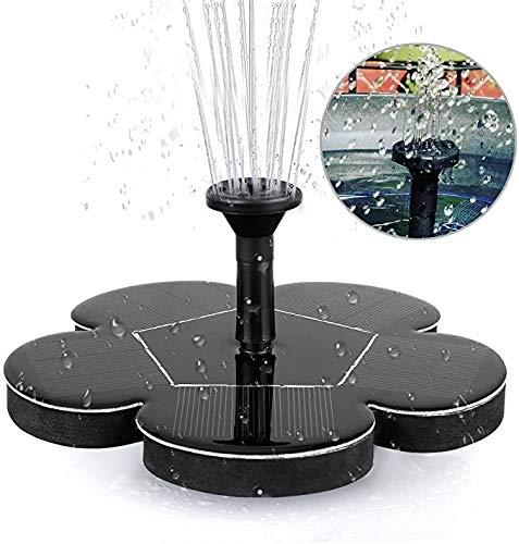 Solar Springbrunnenpumpe 2,5W rund Solar Wasserpumpe Schwimmbrunnen mit 6 Düsen für Vogel Tank Aquarium Teich Garten Dekoration