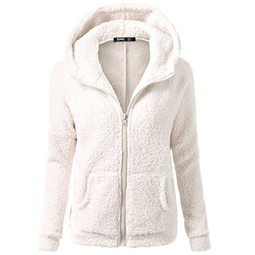 SHOBDW Mujeres de Invierno de Lana cálida Cremallera Abrigo con Capucha suéter Abrigo de algodón Outwear (Blanco, S)