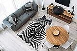 One Couture Teppich Fell Tierfell Optik Zebra Tiermuster Wohnzimmer Loft Schwarz Weiß, Größe:160cm x 230cm