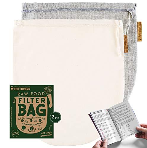 NECTARBAR Eco Nussmilchbeutel Made in Germany Mixpack Handgefertigte Filterbeutel Natur Leinen + Baumwolle für vegane Nussmilch, Abseihen, Entsaften 100% Plastikfrei RAW Food Filter Bag mit Anleitung