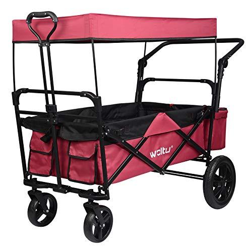 WOLTU® Bollerwagen faltbar mit Dach Handwagen Transportkarre Gerätewagen mit Bremse bis 80 kg belastbar für Kinder Camping Einkaufen Garten Dunkelrot TW018drs