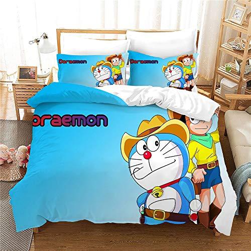 Probuk Doraemon Juego de ropa de cama 100% microfibra, diseño anime, ropa de cama para niños y niñas, con funda de almohada (A-05,220 x 240 cm (50 x 75 cm)