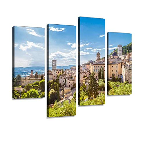 IGOONE 4 Panels Canvas Paintings - Historic Town of Assisi Umbria Italy Old Mediterranean Towns - Wall Art Modern Posters Framed Ready to Hang for Home Wall Decor