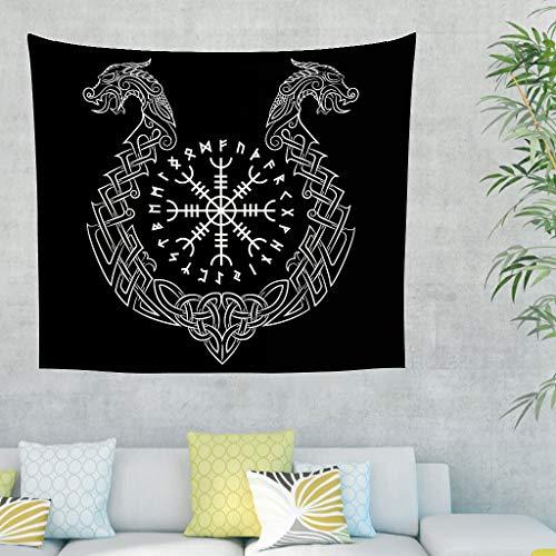 Firelife Wikinger Runen Drache Wandteppich Wandbehang Tuch Wandtuch Tapestry Tapisserie Schöne Wanddeko für Schlafzimmer Wohnzimmer Strandtücher Tagesdecke