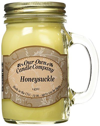 Our Own Candle Company Honeysuckle Scented 13 Ounce Mason Jar Candle