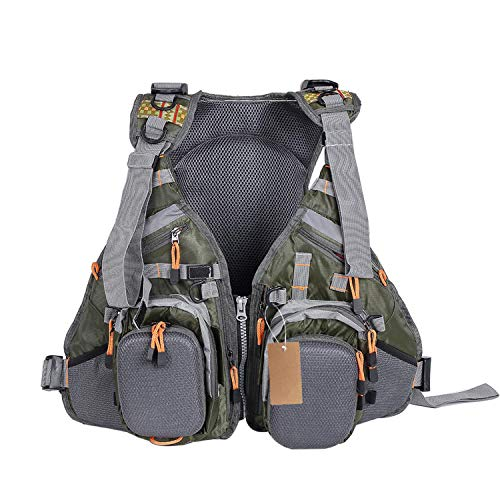 Mesh Fly Fishing Vest and Backpack Breathable Outdoor Fishing Safety Life Jacket Fisherman Utility Vest Fishing Wear,Green