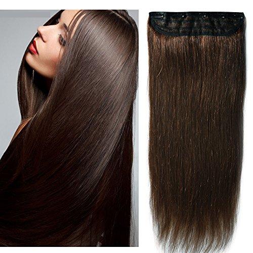 Clip in Extensions Echthaar 1 Tresse mit 5 clips - Remy Echthaar Haarverlängerung 40cm-80g (#4 Mittelbraun)