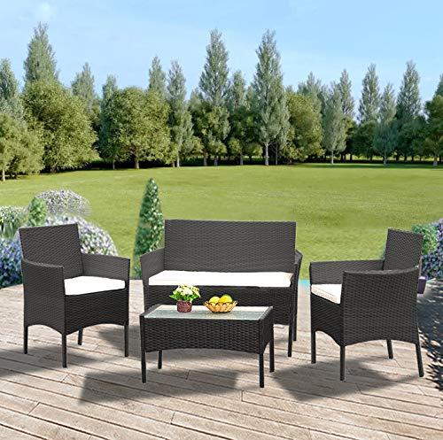 Anaelle Panana Ensemble Table en Verre + 3 Chaises en Rotin PVC Moderne -Imperméable à leau -Résistant aux Rayons UV pour Jardin, Balcon, Terrasse, Poids: 25kg (Noir)