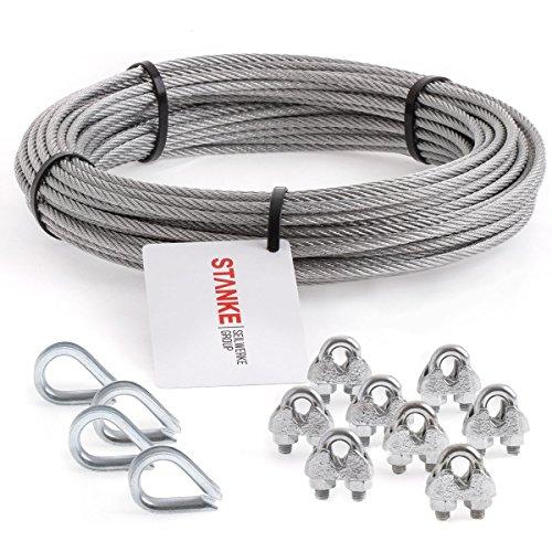 Seilwerk STANKE Rankhilfe Drahtseil verzinkt 5m Stahlseil 5mm 6x7, 4x Kausche, 8x Bügelformklemme - SET 2
