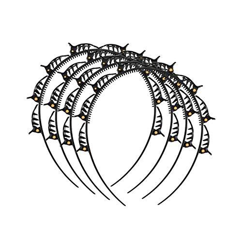 Haarbänder, Haarreif mit Klammern, 4 STÜCK Double Bangs Frisur Haarnadel Stirnband mit 8 kleinen Clips, Double Layer Twist Zopf Stirnband Haarreifen für Damen Mädchen geflochtenes Haar (Schwarz)