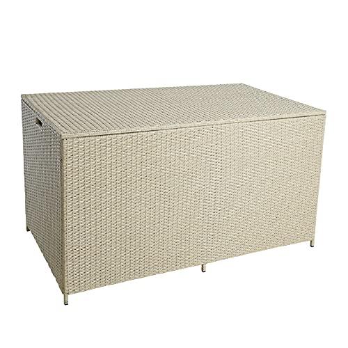 ESTEXO Polyrattan Auflagenbox XXL Kissenbox Gartenbox Gartentruhe Aufbewahrungsbox Auflagentruhe Aufbewahrungstruhe Kissentruhe (Beige)